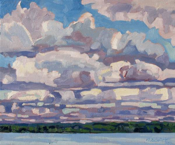 Canoeist Wall Art - Painting - Spring Cumulus by Phil Chadwick