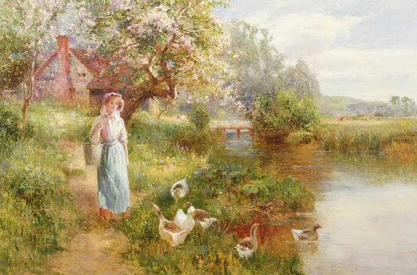 Riverbank Painting - Spring by Ernest Walbourn