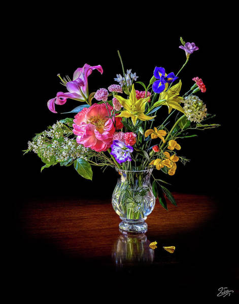 Photograph - Spring Flowers In A Crystal Vase by Endre Balogh