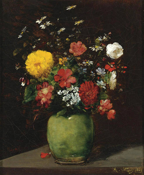 Flowers In A Vase Photograph - Spring Flowers In A Green Vase by Antoine Vollon