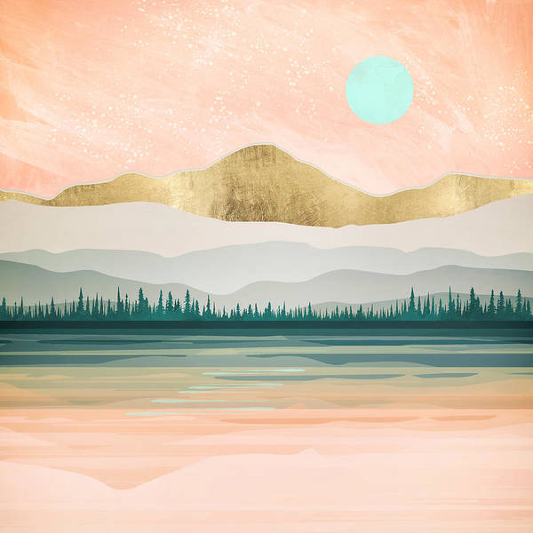 Spring Mountains Digital Art - Spring Forest Lake by Spacefrog Designs