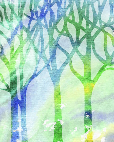 Painting - Spring Forest Watercolor Silhouette by Irina Sztukowski