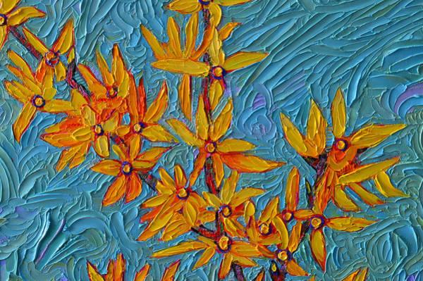Forsythia Painting - Spring Forsythia Modern Impressionism Flowers Impasto Palette Knife Oil Painting Ana Maria Edulescu by Ana Maria Edulescu