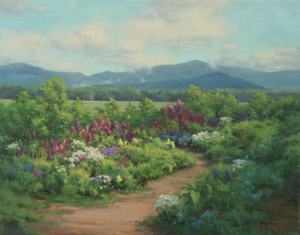 Adirondack Mountains Painting - Spring Greens And Lupine by Marianne Kuhn