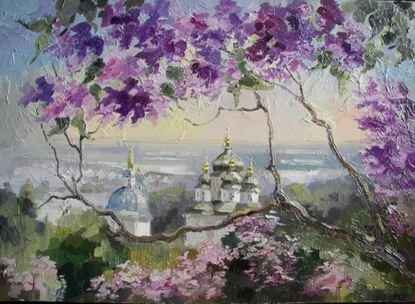 Follow Me Painting - Spring In Botanical Garden. Kiev by Anna Sokol