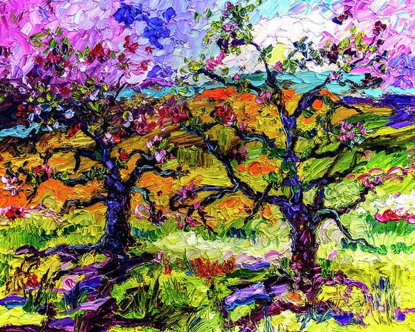 Painting - Spring In Provence Pink Blossom Trees by Ginette Callaway