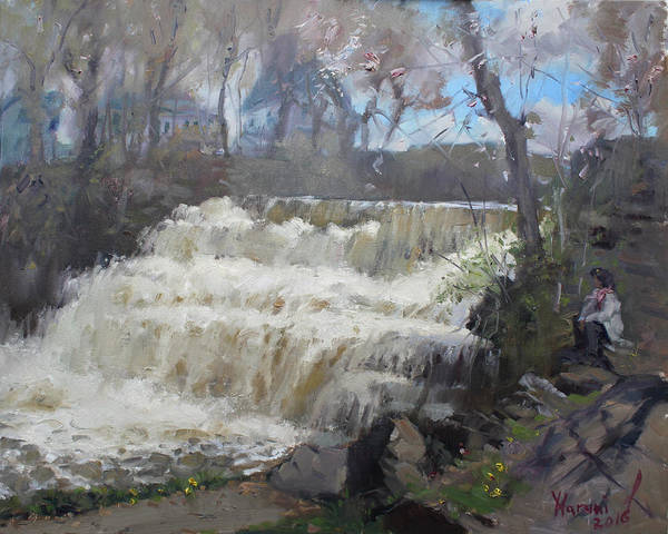 Village Painting - Spring In Williamsville Falls by Ylli Haruni