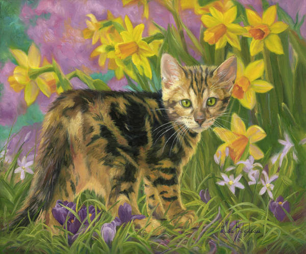 Domestic Cat Wall Art - Painting - Spring Kitten by Lucie Bilodeau