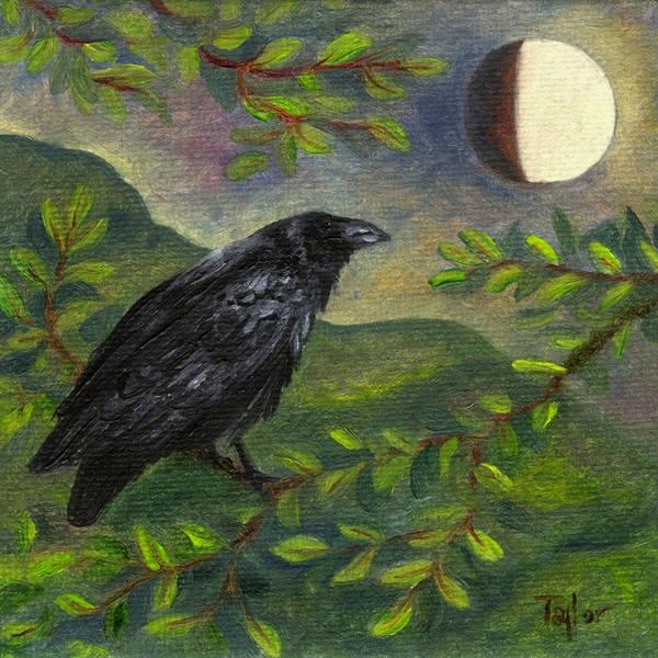 Spring Moon Raven Art Print