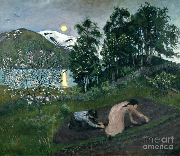 Nikolai Astrup Painting - Spring Night In The Garden by Nikolai Astrup