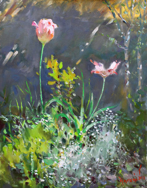 Still-life Painting - Spring On My Backyard by Ylli Haruni