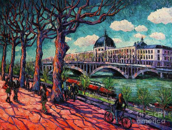 Abstract People Painting - Spring On The Banks Of The Rhone - Lyon France - Modern Impressionist Oil Painting By Mona Edulesco by Mona Edulesco