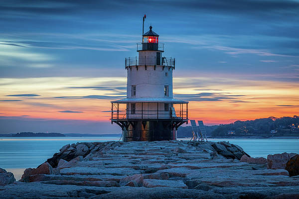 Photograph - Spring Point Ledge Light Blue Hour by Colin Chase