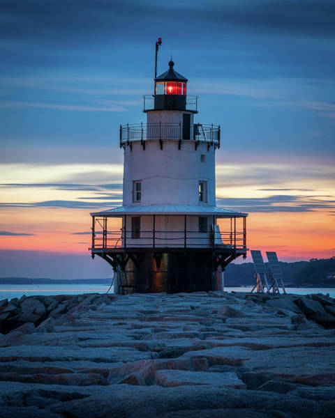 Photograph - Spring Point Ledge Light Blue Hour II by Colin Chase