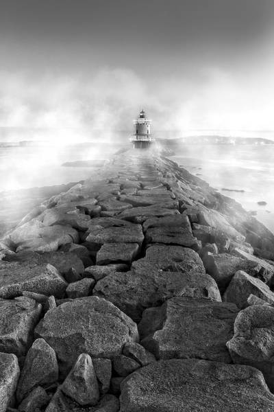Photograph - Spring Point Ledge Light Sea Smoke Bw by Susan Candelario