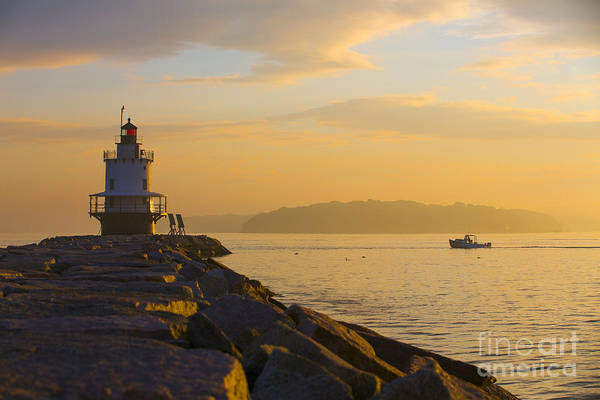 Casco Bay Photograph - Spring Point Lighthouse At Dawn. by Diane Diederich