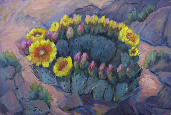 Prickly Pear Wall Art - Painting - Spring Prickly Pear Cactus by Diane McClary
