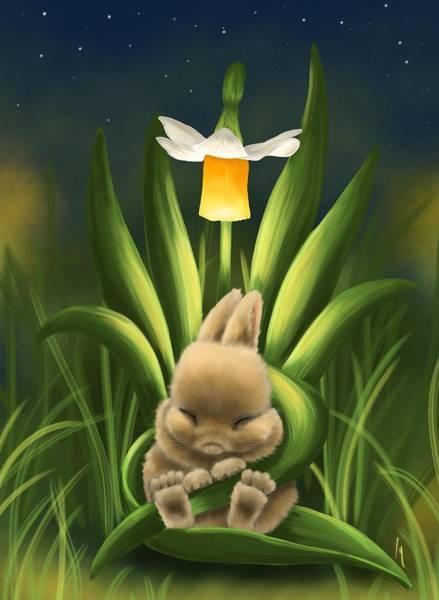 Wild Rabbit Painting - Spring Rest by Veronica Minozzi