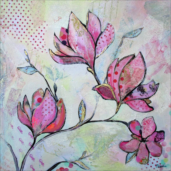 Pink Blossom Painting - Spring Reverie I by Shadia Derbyshire