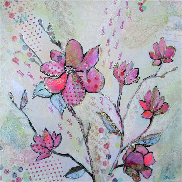Pink Blossom Painting - Spring Reverie IIi by Shadia Derbyshire