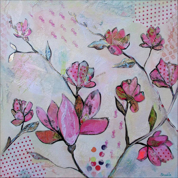 Pink Blossom Painting - Spring Reverie Iv by Shadia Derbyshire