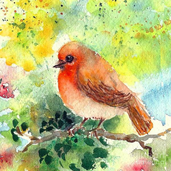 Painting - Spring Robin by Asha Sudhaker Shenoy