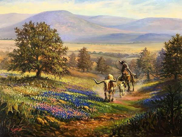 Longhorn Painting - Spring Round Up by David Swantner