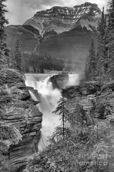 Photograph - Spring Storms Over Athabasca Falls Portrait Black And White by Adam Jewell