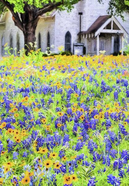 Texas Bluebonnet Digital Art - Spring Sunday Service by JC Findley