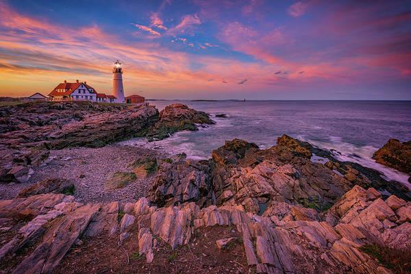 Wall Art - Photograph - Spring Sunset At Portland Head Lighthouse by Rick Berk
