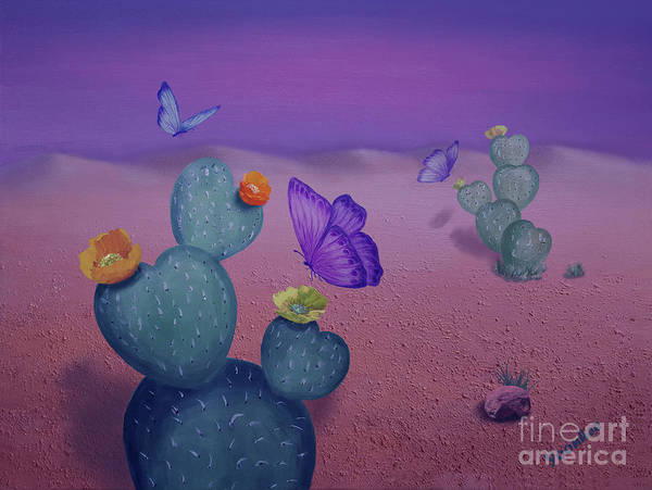 Cactus Mixed Media - Spring Sunset On The Desert  by Yoonhee Ko
