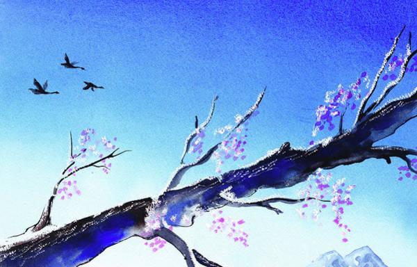 Ultramarine Blue Painting - Spring Tree Blue Sky Landscape  by Irina Sztukowski
