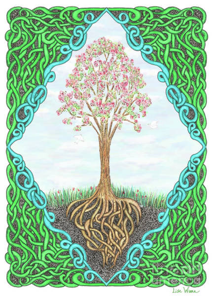 Spring Tree With Knotted Roots And Knotted Border Art Print