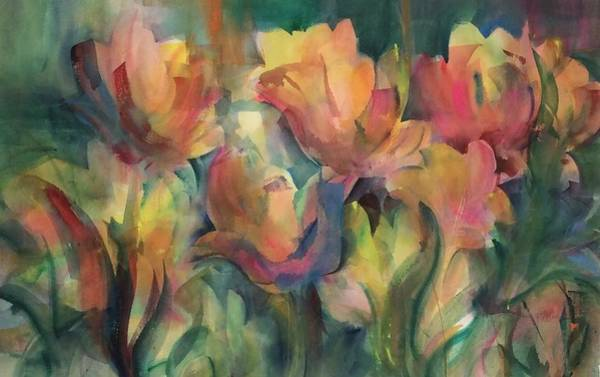 Painting - Spring Tulips by Karen Ann Patton