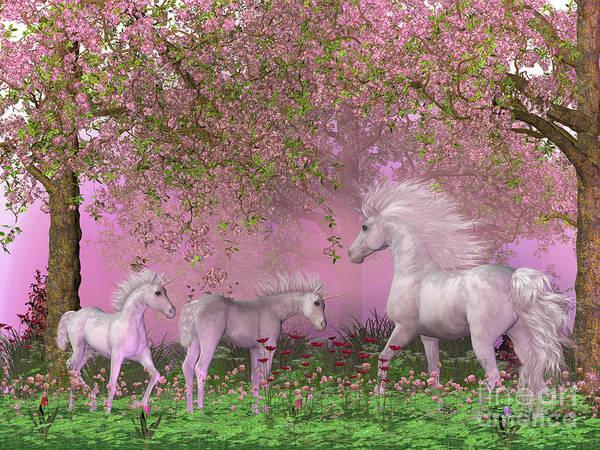 Unicorn Horn Digital Art - Spring Unicorns by Corey Ford