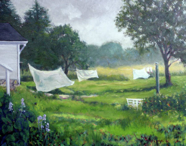 Clothesline Painting - Spring Wash by Donna Lange