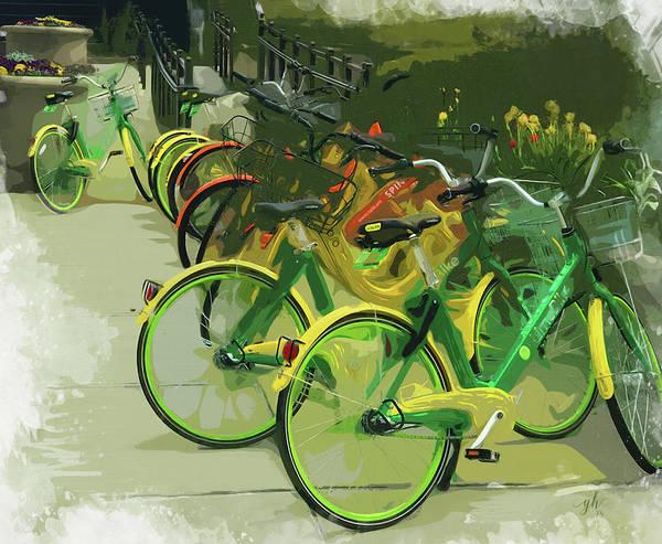 Digital Art - Spring Wheels by Gina Harrison