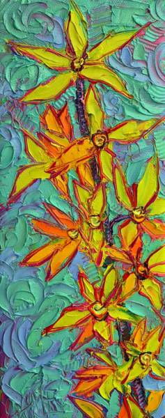 Forsythia Painting - Spring Yellow Forsythia Modern Impressionism Palette Knife Impasto Oil Painting Ana Maria Edulescu by Ana Maria Edulescu