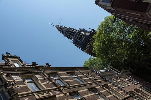 Photograph - Springtime Amsterdam - High Noon Church Clock - Left Horizontal by Georgia Mizuleva