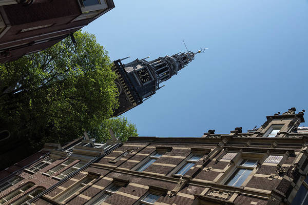 Photograph - Springtime Amsterdam - High Noon Church Clock - Right Horizontal by Georgia Mizuleva