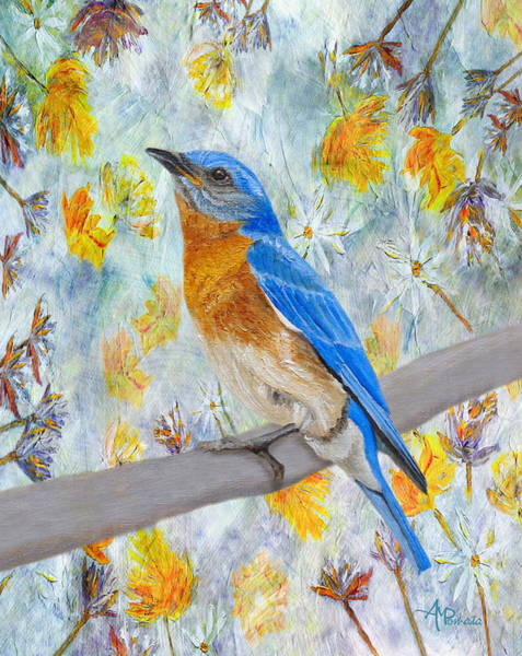Painting - Springtime Eastern Bluebird by Angeles M Pomata