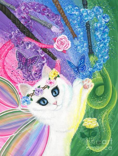 Painting - Springtime Magic - White Fairy Cat by Carrie Hawks