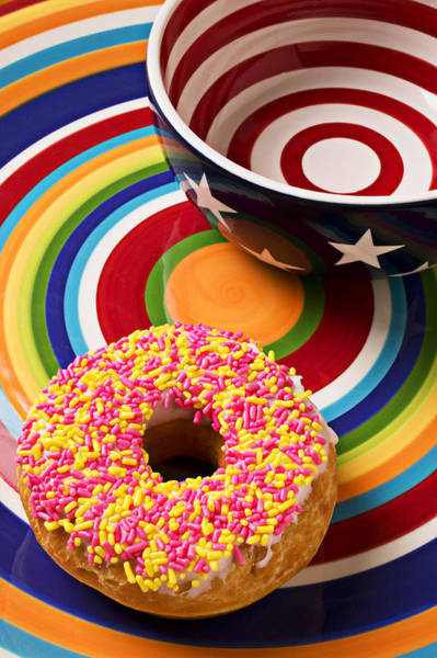 Doughnut Wall Art - Photograph - Sprinkled Donut On Circle Plate With Bowl by Garry Gay