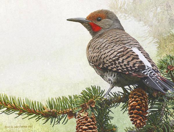 Northern Flicker Digital Art - Spruce Flicker Portrait by R christopher Vest
