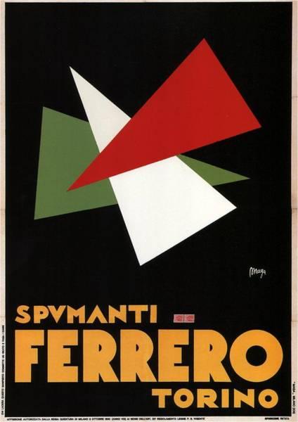 Champagne Mixed Media - Spumanti Ferrero, Torino - Champagne - Italian Wine - Minimal Vintage Advertising Poster by Studio Grafiikka