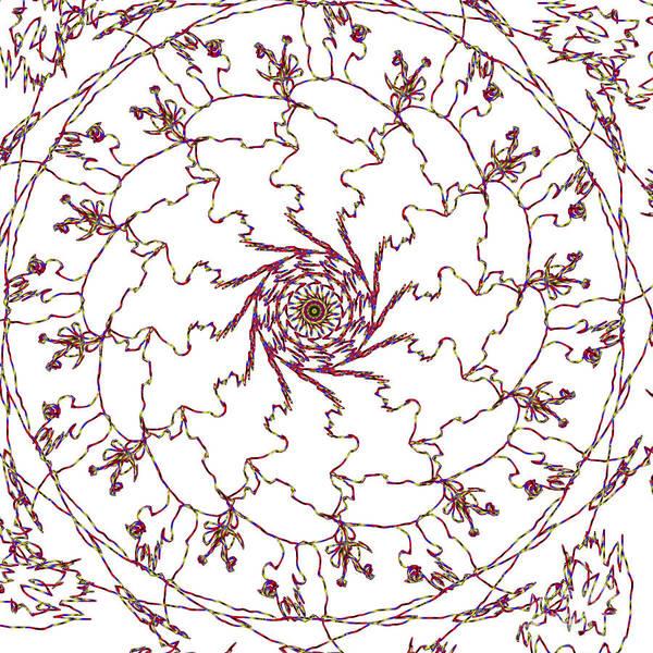 Digital Art - Spun Floral Red 1 by Catherine Lott