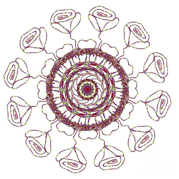 Digital Art - Spun Roses Red 1 by Catherine Lott