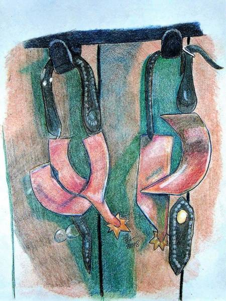 Drawing - Spurs by Loretta Nash