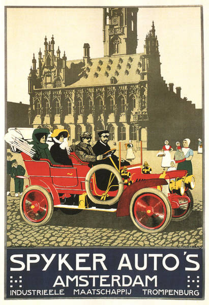 Vintage Automobiles Mixed Media - Spyker Auto's - Amsterdam - Vintage Automobile Advertising Poster by Studio Grafiikka