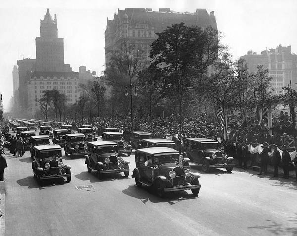 Procession Photograph - Squad Cars In Police Parade by Underwood Archives